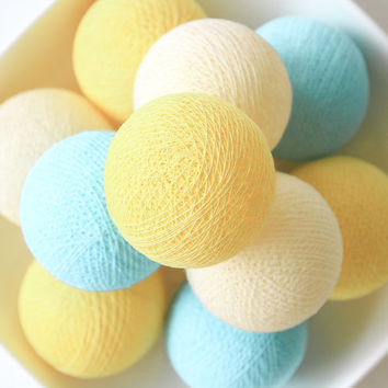 Pastel Yellow Cream Blue 20 Handmade Cotton Ball Patio Party String Lights – Fairy, Wedding, Holiday, Home Décor