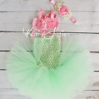Little Mermaid Tutu, Top, & Headband- Mint and Pink, Mermaid Tail, Halloween, birthday, baby girl, infant, toddler
