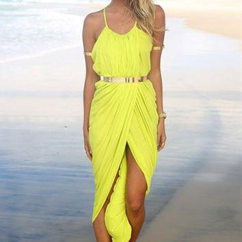 Yellow Spaghetti Strap Front Slit Ruched Bodycon Maxi Dress