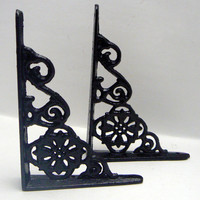 Wall Bracket Cast Iron Shelf Ornate Brace Classic Modern Black Decorative Brackets 1 Pair (2 individual brackets)