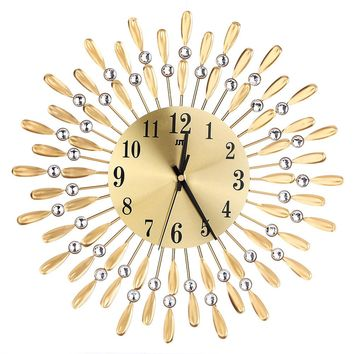 3D Large Wall Clock, Crystal Sun Modern Style Silent Clocks for Living Room, Home Office And More