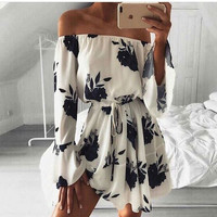 2017 Women Summer Chiffon Dress Sexy Off Shoulder Floral Print Boho Beach Dress Casual Slash Neck Girls Dress Sundress Vestidos