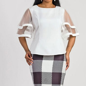 DOUBLE LAYERED SLEEVE SHEER TOP