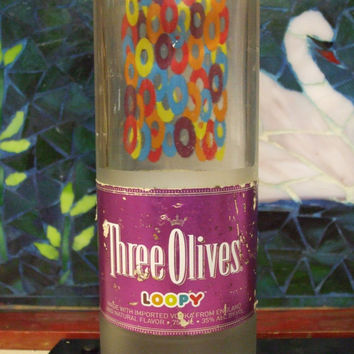 20 Ounce Pure Soy Candle in Reclaimed Three Olives Loopy Vodka Bottle - Your Choice of Scent