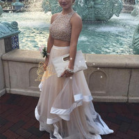 Honey Qiao Prom Dresses Tulle A Line Two Pieces 2017 Nude Scoop Sheer Back Floor Length Sleeveless Luxury Beading Evening Gowns