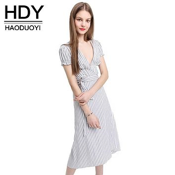 HDY Haoduoyi 2016 New Fashion Woman Deep V Neck Casual Loose Tops Asymmetrical Striped Short Sleeve Shirt Waist Tie Bow Dress