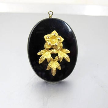 Antique Victorian Mourning Locket. 9K Black Onyx Photo Locket Pendant. Antique Black Mourning Jewelry