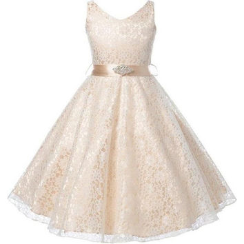 Well Girls Party Dress Children Wear 2016 Lace Flower Children Girls Elegant Wedding Ceremony Birthday Dresses Teen Prom Dresses = 5739447041