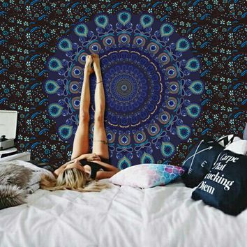 Blue Brown Boho Mandala Fabric Wall Tapestry