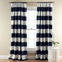 Lush Decor Stripe Blackout Navy Window Curtain set of 2