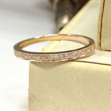 Diamond Wedding Ring 14K Rose Gold,Milgrain Half Eternity Band,Round Cut Diamonds,Matching Band,Anniversary Fine Ring,Fashion,Stackable