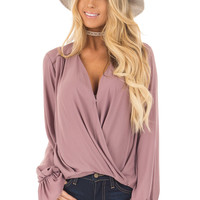 Mauve Overlap Woven Blouse with Ruffle Detail Sleeve