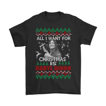 SPBEST All I Want For Christmas Is Daryl Dixon The Walking Dead Shirts