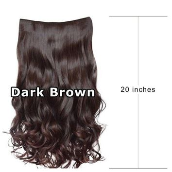 """20"""" Long Full Head Clip In Hair Extensions Curly Wavy Thick Hairpiece Cosplay"""