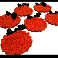Set of Six Crochet Pumpkin Coasters Perfect for Halloween