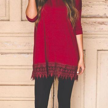 Casual Maroon Patchwork Lace Round Neck Fashion Mini Dress