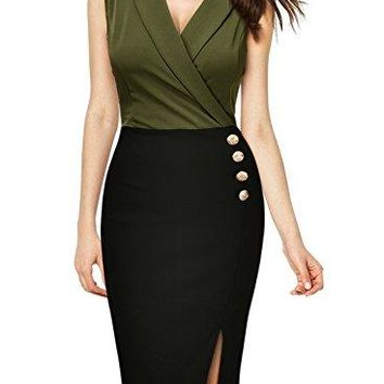 Women's Workwear Business Lapel Sleeveless Cocktail Party Pencil Dress