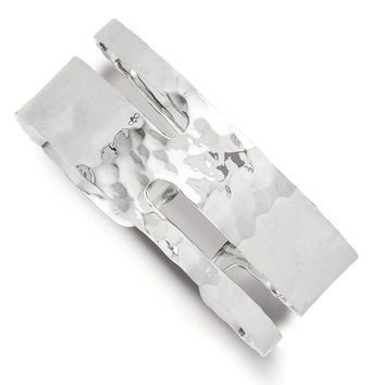 925 Sterling Silver 23mm Wide Solid, Polished and Hammered Cuff Bracelet: Size: 7.5