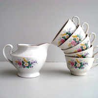 Vintage soviet Tea set, porcelain cups with creamer, RPR Riga porcelain factory USSR 1970s