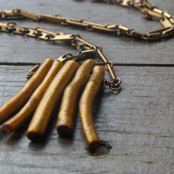 Goldenrod. Golden coral cluster and rustic metal handmade layering necklace.