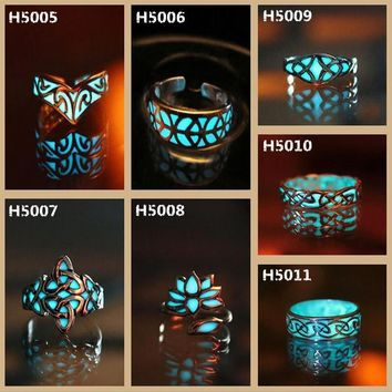 Gift Stylish New Arrival Shiny Jewelry Vintage Noctilucent Geometric Adjustable Lightning Ring [8848742727]