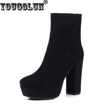 YOUGOLUN Winter Women Genuine Leather Ankle Boots Black Super High Thick Heel 12cm #Z-065