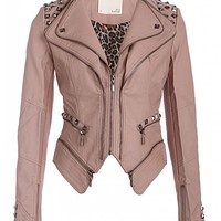 Rocking Cool Dusty Pink Studded Punk Style PU Faux Leather Slim Fit Moto Jacket