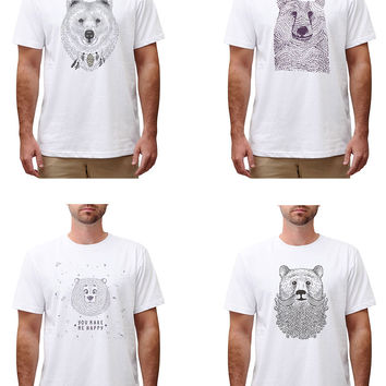 Men Bears in hand draw style Graphic Printed Cotton T-shirt MTS_00