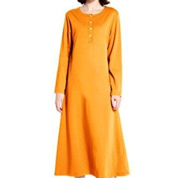 lantisan Cotton Knit Long Sleeve Nightgown for Women Henley Full Length Sleep Dress
