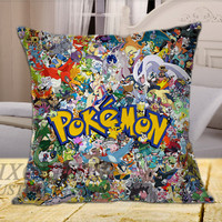 All Pokemon Character Cartoon on Square Pillow Cover