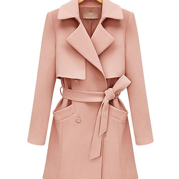 Notched Collar Long Sleeve Trench Coat with Belt