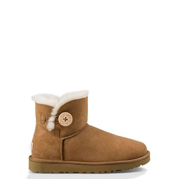 Best Deal Online UGG MINI BAILEY BUTTON II Short Women Boots CHESTNUT 1016422