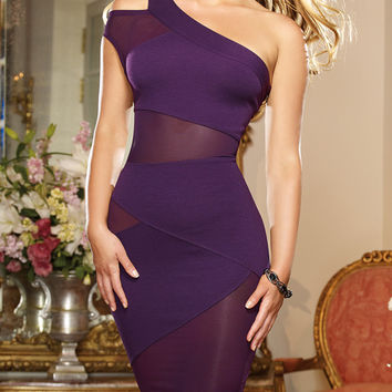 Purple One Shoulder Sleeveles Bodycon Midi Dress with Mesh Accent