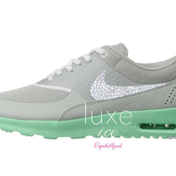 Nike Air Max Thea shoes w Swarovski Crystals detail - gray - tiffany mint 34531fd6e1a7