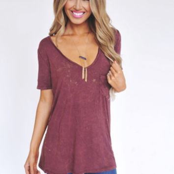 Maroon Acid Wash V Neck