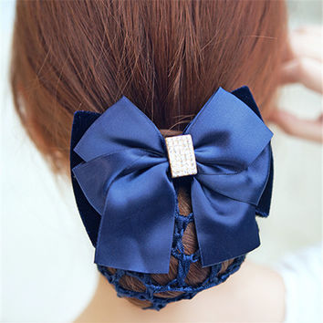 New Arrival Big Satin Bow Girl's Hair Barrette Clips Cover Bowknot Bun Snood Women Hair Accessories