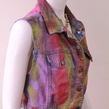 90s - Tie Dye - Pink Purple Yellow - Denim - Blue Jean - Button Up - Sleeveless - Cropped Vest - Grunge Revival - Sea Punk