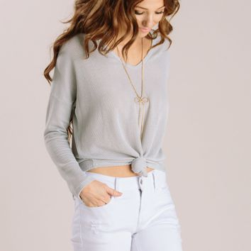 Bianca Grey Ribbed Longsleeve Top