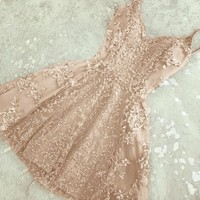 Pink Appliques A-Line Sweetheart Homecoming Dress