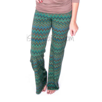 JUDITH MARCH MULTI GREEN ZIG ZAG PANTS