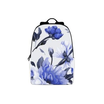 CS - White and Periwinkle Blue Flowers Large Backpack