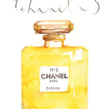 Large Chanel No 5 perfume bottle watercolor painting, 12X16 print, Paris poster, French art, Wall decor, bathroom decoration