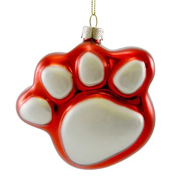 Holiday Ornament Red Paw Ornament Glass Ornament