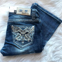 GRACE IN L.A WHITE MOUNTAINS BOOTCUT JEANS