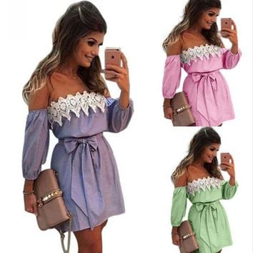 LMFON Fashion Off Shoulder Long Sleeve Lace Stitching Stripe Mini Dress