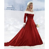 2012 Custom Made Winter a-Line off The Shoulder Fur Taffeta Unique Christmas Color Wedding Dresses - Star Bridal Apparel
