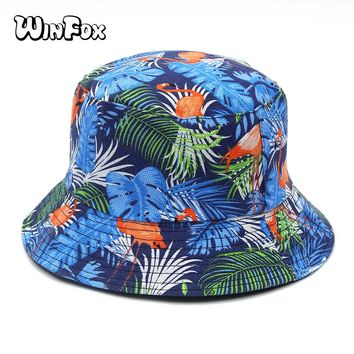 Winfox New Fashion Summer Blue Pink Flamingo Banana Leaf Tropical Printed Bucket Hats For Womens Mens