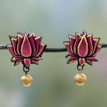 Terracotta flower earrings, 'Lotus Majesty'