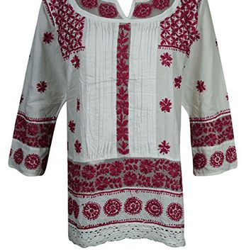 Mogul Womens Indian Tunic Dress Cotton White Red Chikankari Embroidered Top Blouse Shirt