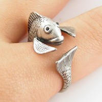 Vintage-Silver Fish Wrap Ring | KejaJewelry - Jewelry on ArtFire
